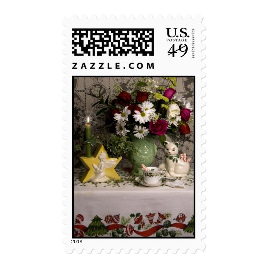 2218 Floral Still Life Christmas Postage