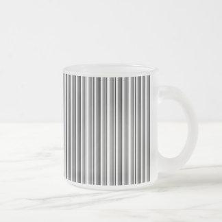 222 MODERN BLACK WHITE GREY GRAY STRIPES PATTERN B FROSTED GLASS COFFEE MUG