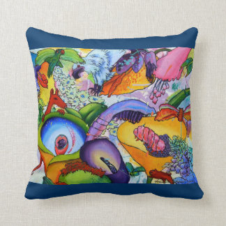2239  In Our Garden cushion - Deep Aqua Throw Pillows