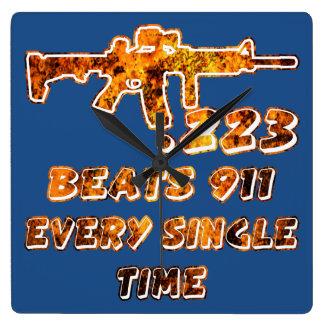 .223 Beats 911 Every Time (c)WhiteTigerLLC.com Square Wall Clock