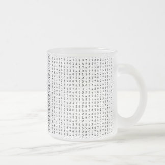 224 LIGHT GREY GRAYS BLACK WHITE NUMBERS PATTERN B FROSTED GLASS COFFEE MUG