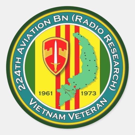 224o Bn RR 1 de los Avn - ASA Vietnam Pegatina Redonda