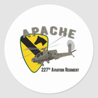 227th Aviation Apache Classic Round Sticker