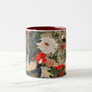 22. 牡丹小禽図, Peonies y pequeños pájaros, Jakuchū del Tazas De Café