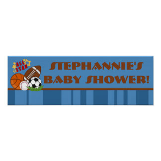 """22.5""""x7.5"""" Personalized Banner All Star Blue Poster"""