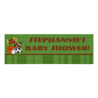 """22.5""""x7.5"""" Personalized Banner All Star Green Posters"""