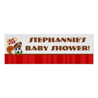 """22.5""""x7.5"""" Personalized Banner All Star Red Poster"""