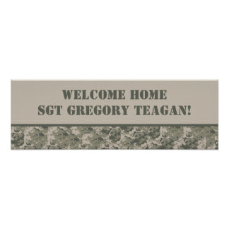 "22.5""x7.5"" Personalized Banner ARMY ACU Camo Poster"