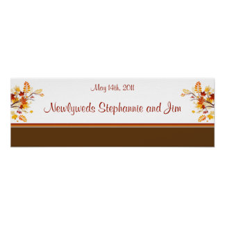 """22.5""""x7.5"""" Personalized Banner Autumn Branch Leave Poster"""