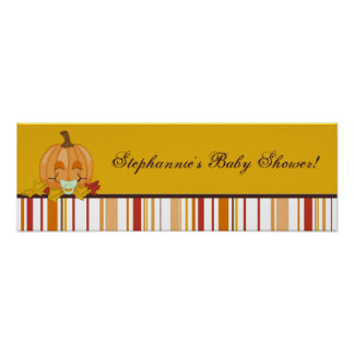 "22.5""x7.5"" Personalized Banner Autumn Fall Pumpkin Poster"