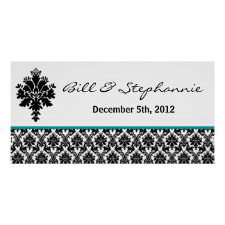 "22.5""x7.5"" Personalized Banner Black Teal Damask Poster"