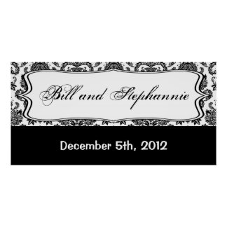 "22.5""x7.5"" Personalized Banner Black White Damask Poster"