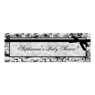 "22.5""x7.5"" Personalized Banner Black White Toile Poster"