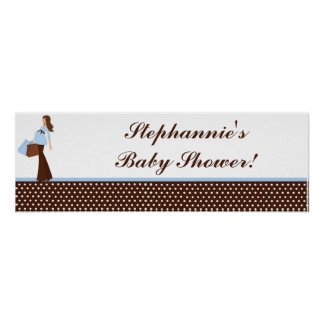 "22.5""x7.5"" Personalized Banner Blue Mod Mom Polka Poster"