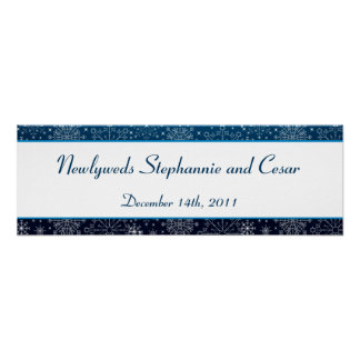 "22.5""x7.5"" Personalized Banner Blue Stars and Snow Poster"