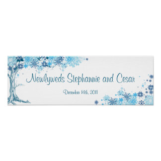 "22.5""x7.5"" Personalized Banner Blue Tree / Snowfla Poster"