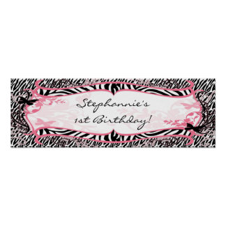 """22.5""""x7.5"""" Personalized Banner Butterfly Zebra Posters"""