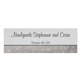 "22.5""x7.5"" Personalized Banner Gray Snowflakes Poster"