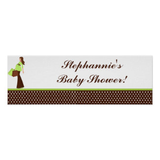 "22.5""x7.5"" Personalized Banner Green Mod Mom Polka Poster"