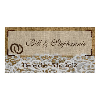 """22.5""""x7.5"""" Personalized Banner Horse Shoes Burlap Poster"""