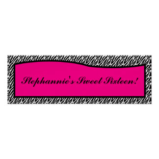 """22.5""""x7.5"""" Personalized Banner Hot Pink Zebra Prin Poster"""