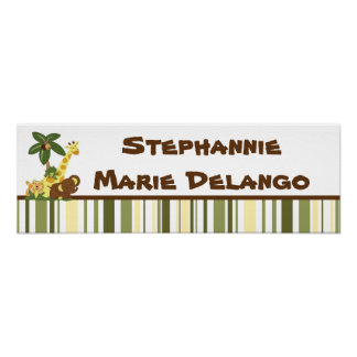 22 5 x7 5 Personalized Banner Jungle Babies Poster
