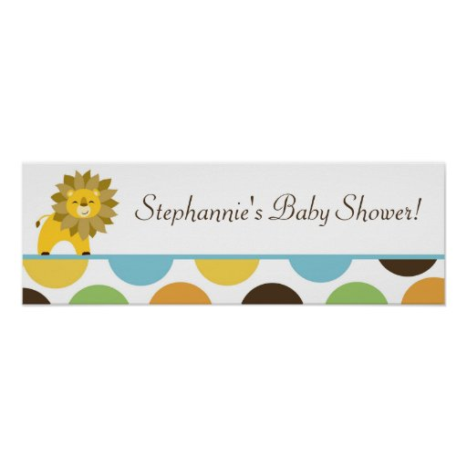 """22.5""""x7.5"""" Personalized Banner Jungle King Lion Print"""
