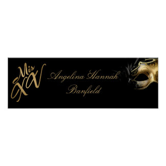 "22.5""x7.5"" Personalized Banner Mis XV Gold Poster"