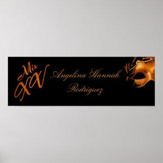 "22.5""x7.5"" Personalized Banner Mis XV Orange Poster"