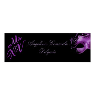 "22.5""x7.5"" Personalized Banner Mis XV Purple Poster"