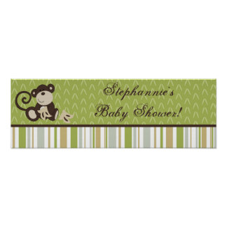 "22.5""x7.5"" Personalized Banner Monkey Time Jungle Poster"