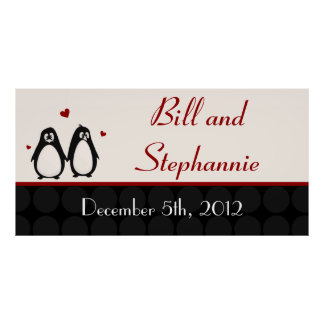 "22.5""x7.5"" Personalized Banner Penguin Love Couple Poster"