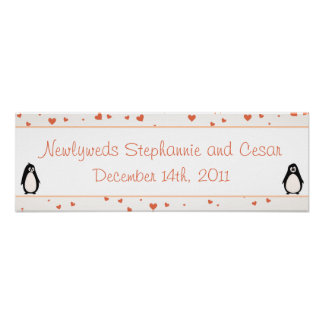 "22.5""x7.5"" Personalized Banner Penguin Love/Hearts Poster"
