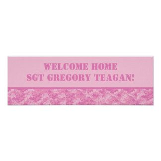 """22.5""""x7.5"""" Personalized Banner Pink ARMY ACU Camo Poster"""