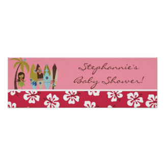 "22.5""x7.5"" Personalized Banner Pink Hawaiian Luau Poster"