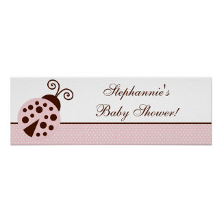 "22.5""x7.5"" Personalized Banner Pink Ladybug Poster"
