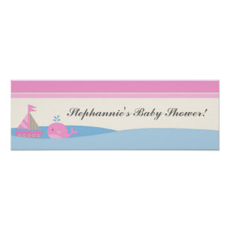 "22.5""x7.5"" Personalized Banner Pink Nautical Boat Poster"