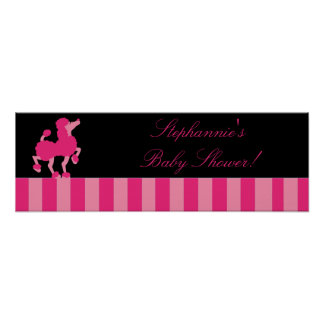 "22.5""x7.5"" Personalized Banner Pink Poodle Paris Poster"