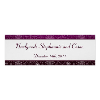 "22.5""x7.5"" Personalized Banner Purple Stars/Snowfl Poster"
