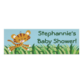 """22.5""""x7.5"""" Personalized Banner Rain-forest Jungle Print"""