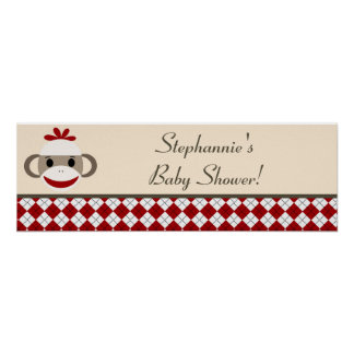 """22.5""""x7.5"""" Personalized Banner Red Sock Monkey Poster"""