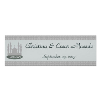"""22.5""""x7.5"""" Personalized Banner Soft Blue Islamic R Poster"""