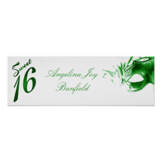 "22.5""x7.5"" Personalized Banner Sweet 16 Green Poster"