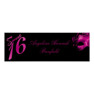 "22.5""x7.5"" Personalized Banner Sweet 16 Hot Pink Poster"