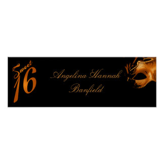 "22.5""x7.5"" Personalized Banner Sweet 16 Orange Poster"