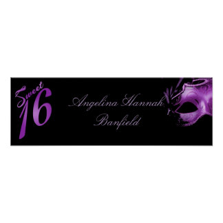 "22.5""x7.5"" Personalized Banner Sweet 16 Purple Poster"