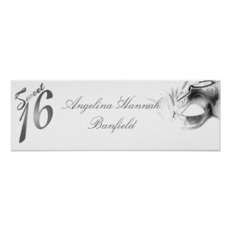 "22.5""x7.5"" Personalized Banner Sweet 16 si;ver Poster"