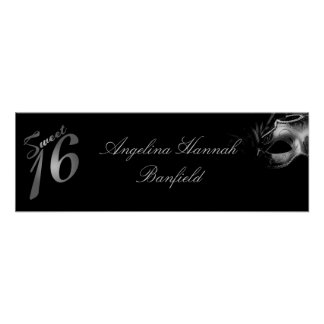 "22.5""x7.5"" Personalized Banner Sweet 16 Silver Poster"