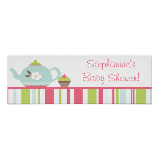 "22.5""x7.5"" Personalized Banner Tea Party Pink Poster"
