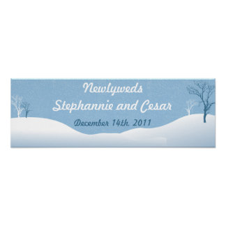 "22.5""x7.5"" Personalized Banner Winter Blue Christm Poster"